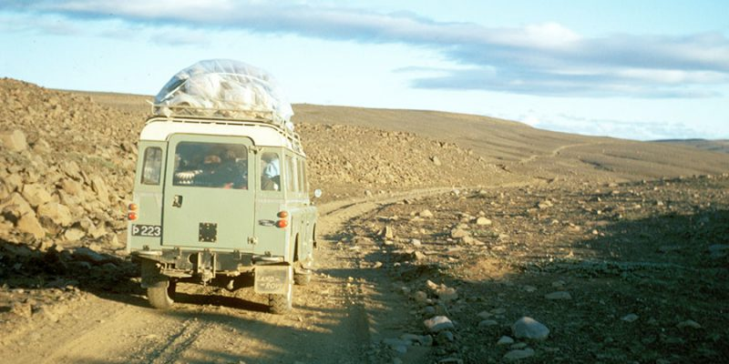 Land Rover on a barren gravel road in Northern Iceland 1972.